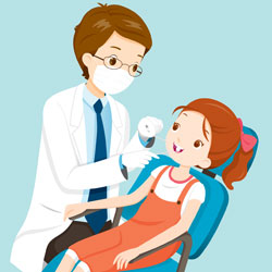 girl in a dental chair cartoon