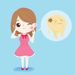 girl with toothache cartoon