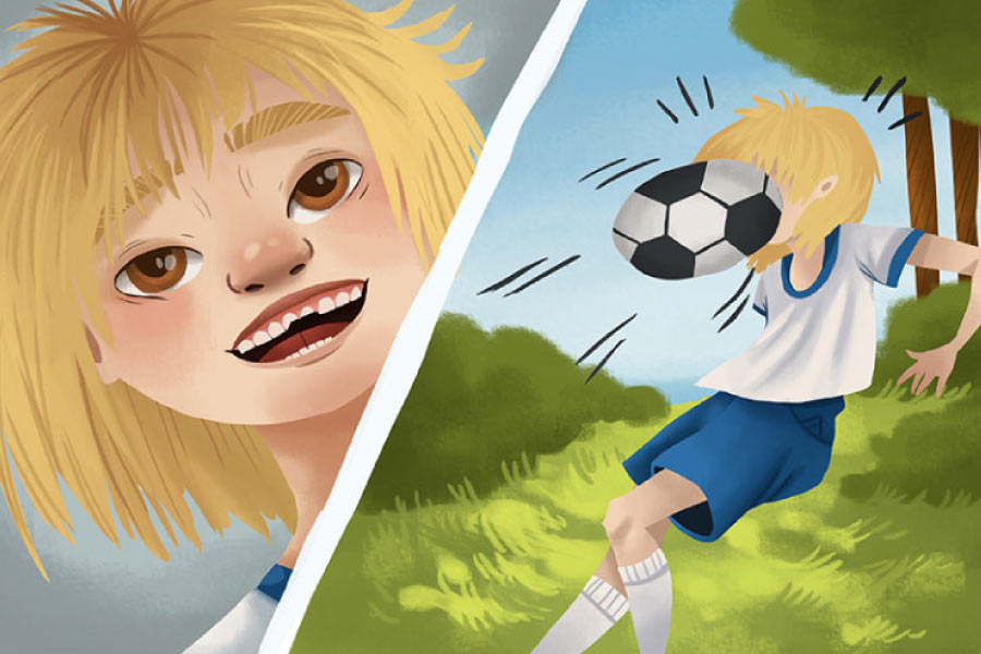 Cartoon showing a boy getting a soccer ball in the face and chipping a tooth.