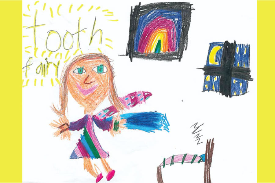 A child's drawing of the tooth fairy including a bed, window with a moon, rainbow art and winged fairy.